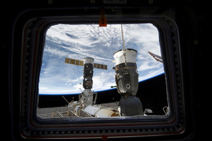Two Russian spacecraft docked with the International Space Sの写真素材 [FYI02691624]