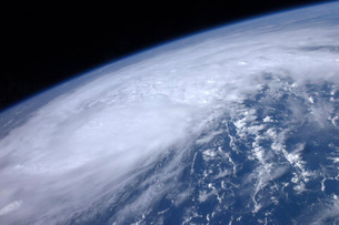 View from space of Hurricane Irene as it passes over the Carの写真素材 [FYI02691739]