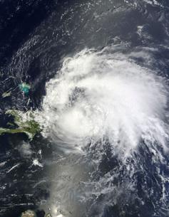 Satellite view of Hurricane Irene over the Dominican Republiの写真素材 [FYI02691741]