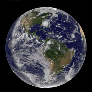 Full Earth with Hurricane Irene visible on the United Statesの写真素材 [FYI02691778]