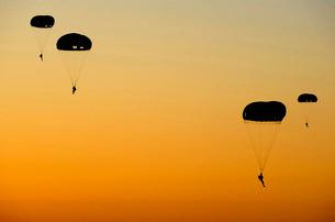 U.S. Army Rangers parachute over Florida.の写真素材 [FYI02691797]