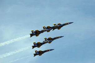 The Blue Angels perform aerial demonstrations during an airの写真素材 [FYI02691807]