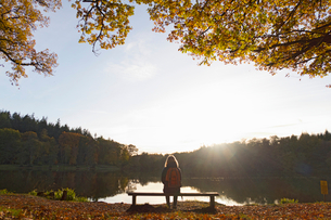 Rear View Of Female Hiker Sitting By Autumn Trees And Lakeの写真素材 [FYI02691961]