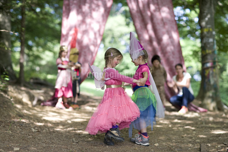 Kindergarten children in costume staging a play in a wood kindergartenの写真素材 [FYI02692143]