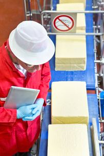 High angle view quality control worker with digital tablet examining cheese at production line in prの写真素材 [FYI02692212]
