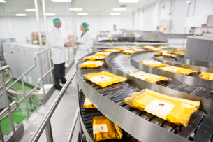 Quality control workers talking behind production line in cheese processing plantの写真素材 [FYI02692363]