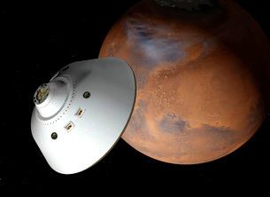 Artist's concept of an aeroshell-encased spacecraft approaching Mars.のイラスト素材 [FYI02693072]