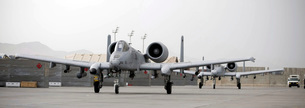 Two A-10 Thunderbolts taxi out to the runway.の写真素材 [FYI02693094]