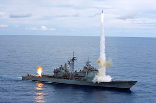 USS Cowpens fires Standard Missiles 2 at an airborne drone.の写真素材 [FYI02693246]