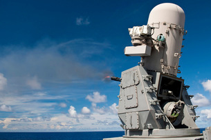 A Phalanx close-in weapons system is fired aboard USS Cowpenの写真素材 [FYI02693528]