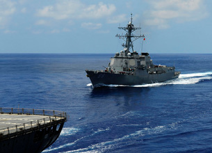 Guided-missile destroyer USS Preble approaching the Militaryの写真素材 [FYI02693678]