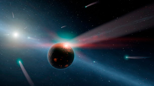 Artist's conception of a storm of comets in the Eta Corvi system.のイラスト素材 [FYI02693687]