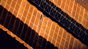 Close-up view of the repaired solar array on the Internationの写真素材 [FYI02693692]
