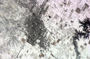Satellite view of Amarillo, Texas, covered in snow.の写真素材 [FYI02693730]