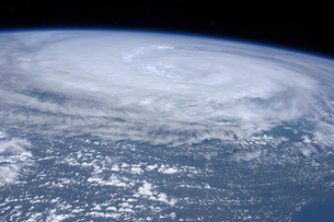 View from space of Hurricane Irene off the east coast of theの写真素材 [FYI02693741]