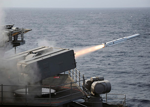 A RIM-7 Sea Sparrow surface missile is launched from the airの写真素材 [FYI02693753]