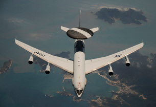 A U.S. Air Force E-3 Sentry aircraft off the coast of Southの写真素材 [FYI02693918]