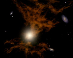 A supermassive black hole in the galaxy's core.のイラスト素材 [FYI02694041]