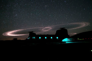 Dust lights up the rotors of a CH-47 Chinook helicopter.の写真素材 [FYI02694313]
