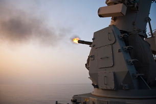 An MK-15 Close-In Weapon System is fired aboard USS Cape St.の写真素材 [FYI02694335]