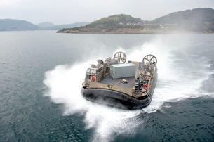 A landing craft air cushion outside of Sasebo, Japan.の写真素材 [FYI02694364]
