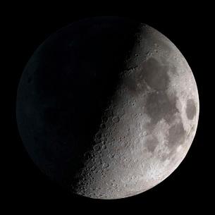 First quarter moon.の写真素材 [FYI02694395]