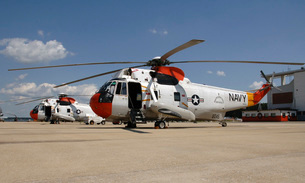 UH-3H Sea King helicopters based at Naval Air Station Patuxent River, Maryland.の写真素材 [FYI02694640]