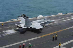 n F/A-18C Hornet launches from USS Dwight D. Eisenhower.の写真素材 [FYI02694782]