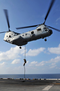 A Marine fast ropes from a CH-46E Sea Knight helicopter.の写真素材 [FYI02694805]