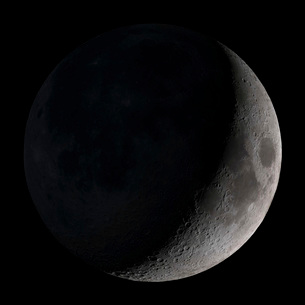 Waxing crescent moon.の写真素材 [FYI02694848]