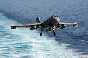 An EA-6B Prowler lands aboard the aircraft carrier USS Johnの写真素材 [FYI02694877]