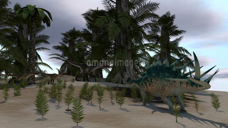 Confrontation between a group of Utahraptors and a Kentrosaurus.のイラスト素材 [FYI02694997]