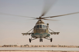 An Afghan Air Force Russian Mil MI-17 helicopter takes off from Camp Shorabak, Afghanistan.の写真素材 [FYI02695491]