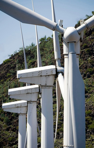 Wind turbines at the Ascension Auxiliary Airfield.の写真素材 [FYI02695743]