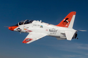A T-45C Goshawk training aircraft conducts a test flight using a biofuel blend.の写真素材 [FYI02695922]