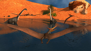Pteranodon reptiles flying over a group of Brachiosaurus dinosaurs.のイラスト素材 [FYI02695950]