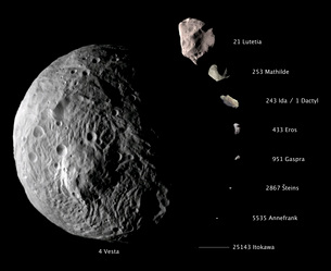 Digital composite showing the comparative sizes of nine asteroids.の写真素材 [FYI02696070]