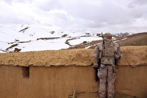 Coalition forces visit the Hazaran village in Afghanistan.の写真素材 [FYI02696244]