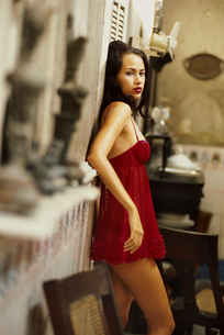 Portrait, woman in red lingerie, Havana, Cubaの写真素材 [FYI02696288]