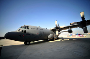 A C-130 Hercules is on display during the 2012 Bahrain International Air Show.の写真素材 [FYI02696445]