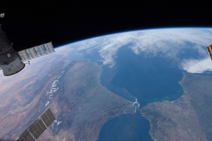 View from space of Morocco and Spain.の写真素材 [FYI02696842]