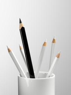 Tall black pencil in cup with smaller white pencils still lifeの写真素材 [FYI02697108]