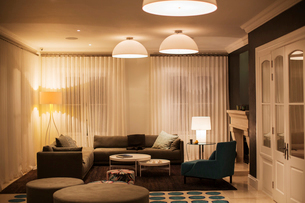 Illuminated domed lights over home showcase living roomの写真素材 [FYI02697630]