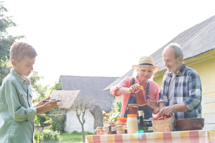 Grandparents and grandson preparing to sell honeyの写真素材 [FYI02697681]