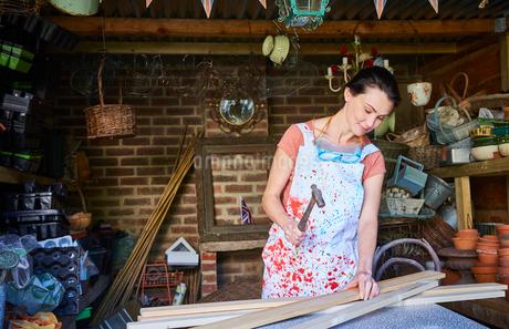 Woman hammering wood boards in workshopの写真素材 [FYI02697695]