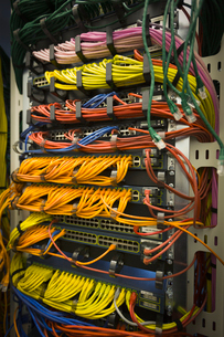 Multicolor server room cablesの写真素材 [FYI02698299]
