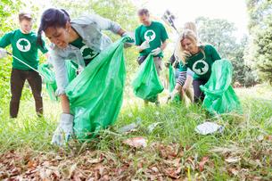 Environmentalist volunteers picking up trash in fieldの写真素材 [FYI02698481]