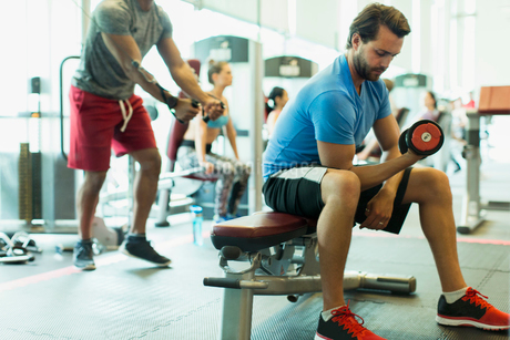 Man doing dumbbell biceps curls at gymの写真素材 [FYI02698675]