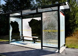 Sweden, Uppland, Lidingo, Broken bus stopの写真素材 [FYI02699818]