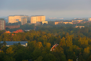 Sweden, Uppland, Lidingo, Cityscape at morningの写真素材 [FYI02699852]